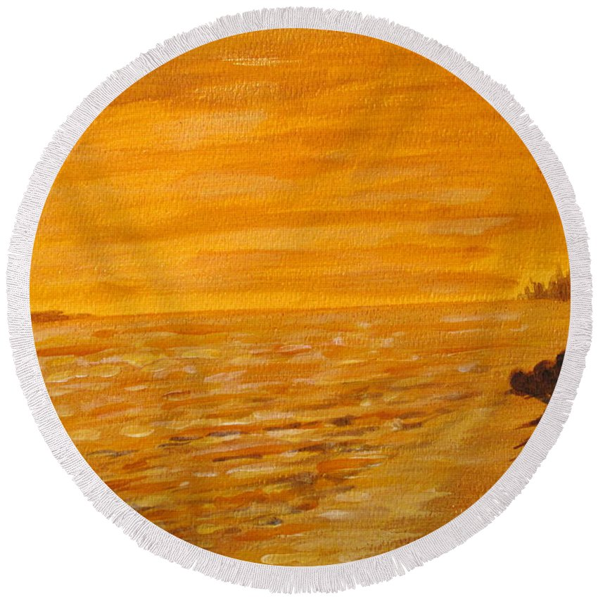 Ocean Round Beach Towel featuring the painting Orange Beach by Ian MacDonald
