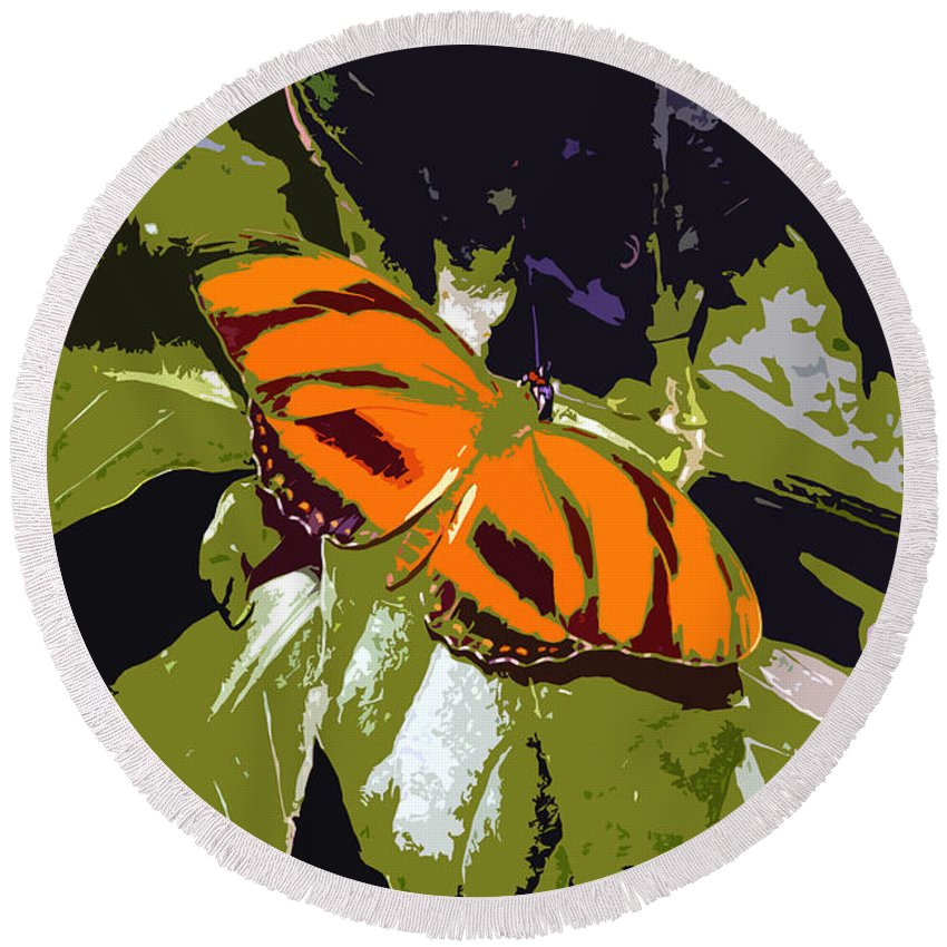 Butterfly Round Beach Towel featuring the photograph Orange Butterfly by David Lee Thompson