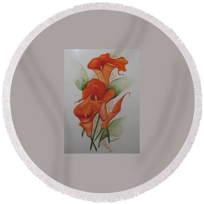 Floral Orange Lily Round Beach Towel featuring the painting Orange Callas by Karin Dawn Kelshall- Best