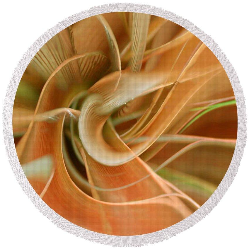 Abstarct Art Round Beach Towel featuring the digital art Orange Delight by Linda Sannuti