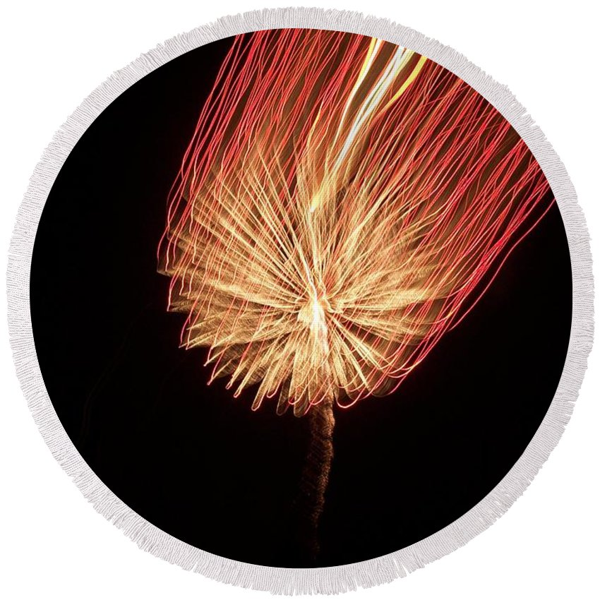 Firework Round Beach Towel featuring the photograph Orange Firework by Michelle Miron-Rebbe