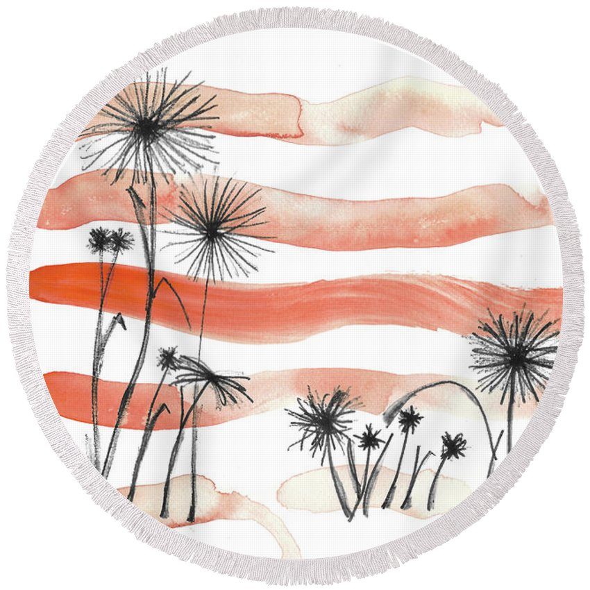 Flower Round Beach Towel featuring the painting Orange Flowers by Shelby Wilson