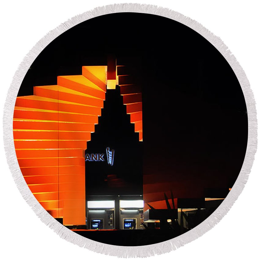 Clay Round Beach Towel featuring the photograph Orange Fountain Downtown Los Angeles by Clayton Bruster