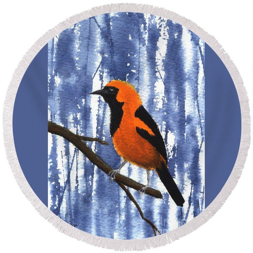 Bird Round Beach Towel featuring the painting Orange-headed Oriole by Lynn Quinn