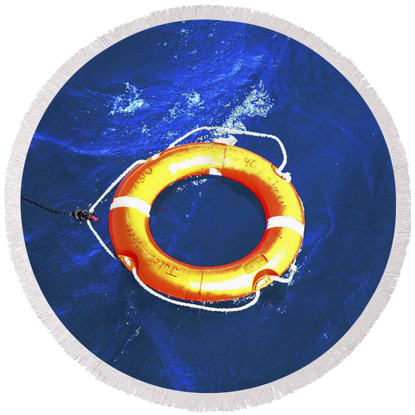 Orange Round Beach Towel featuring the photograph Orange Life Buoy In Blue Water by Jacki Costi