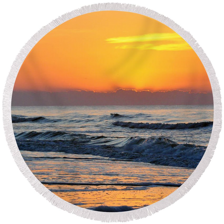 Water Round Beach Towel featuring the photograph Orange Morn by Kay Lovingood