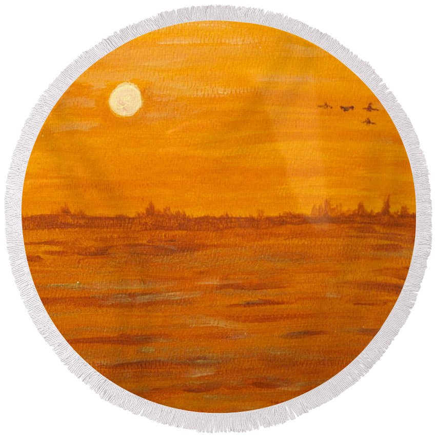 Orange Round Beach Towel featuring the painting Orange Ocean by Ian MacDonald