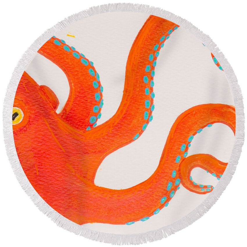 Octopus Round Beach Towel featuring the painting Orange Octopus by Stefanie Forck