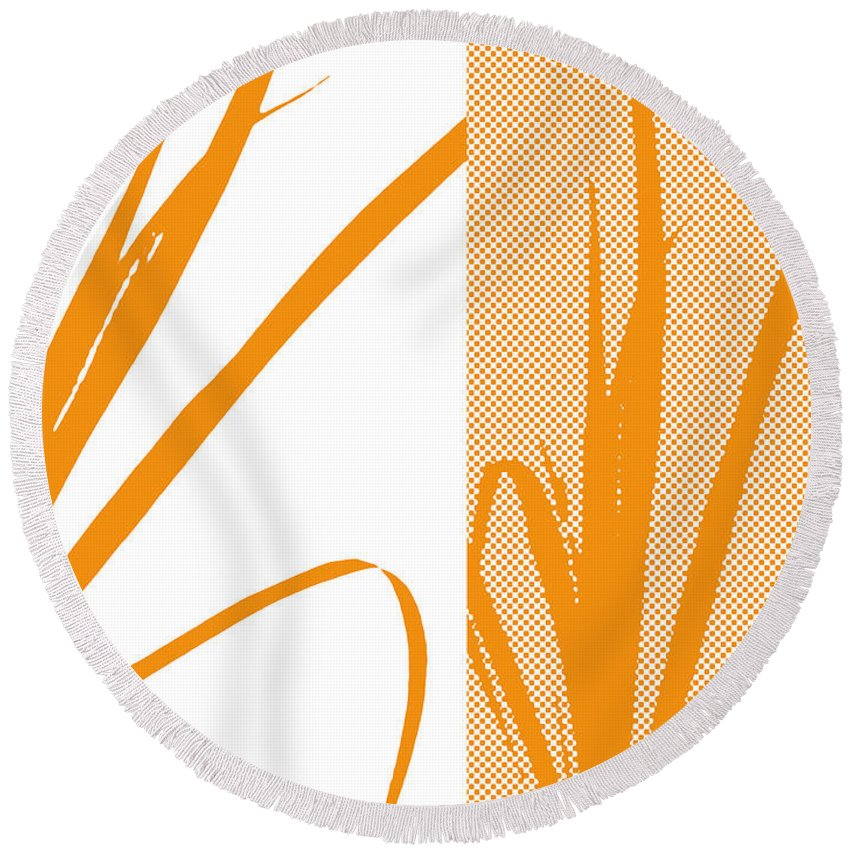 Abstract Round Beach Towel featuring the digital art Orange Palm by Ruth Palmer