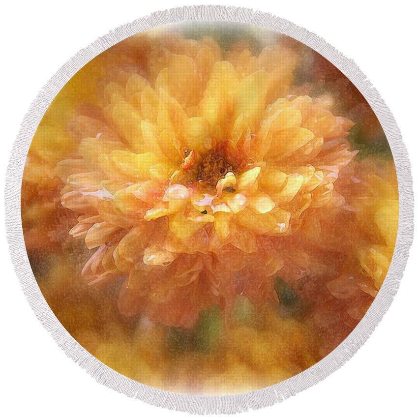 Flowers Round Beach Towel featuring the photograph Orange Passion by Linda Sannuti