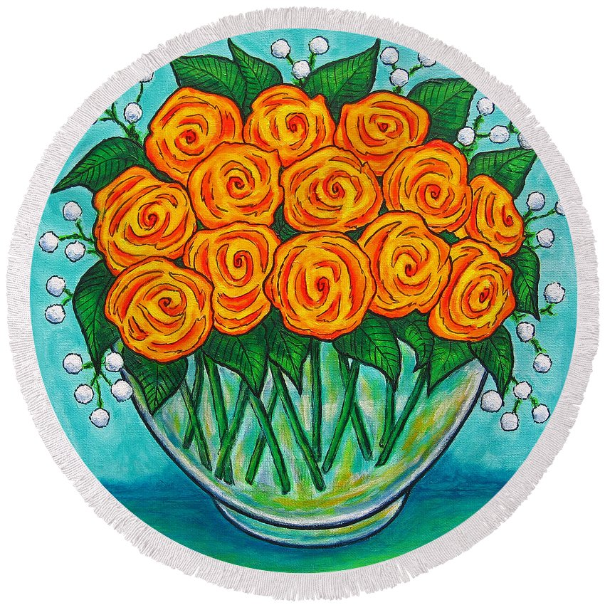 Orange Round Beach Towel featuring the painting Orange Passion by Lisa Lorenz