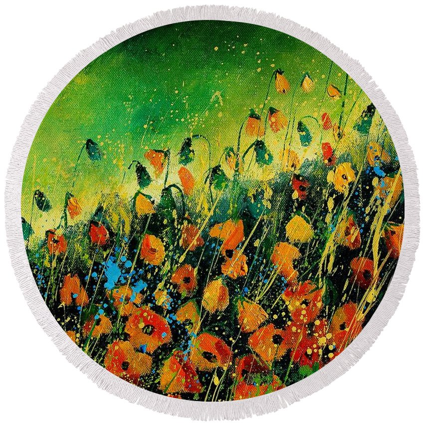 Poppies Round Beach Towel featuring the painting Orange Poppies 459080 by Pol Ledent