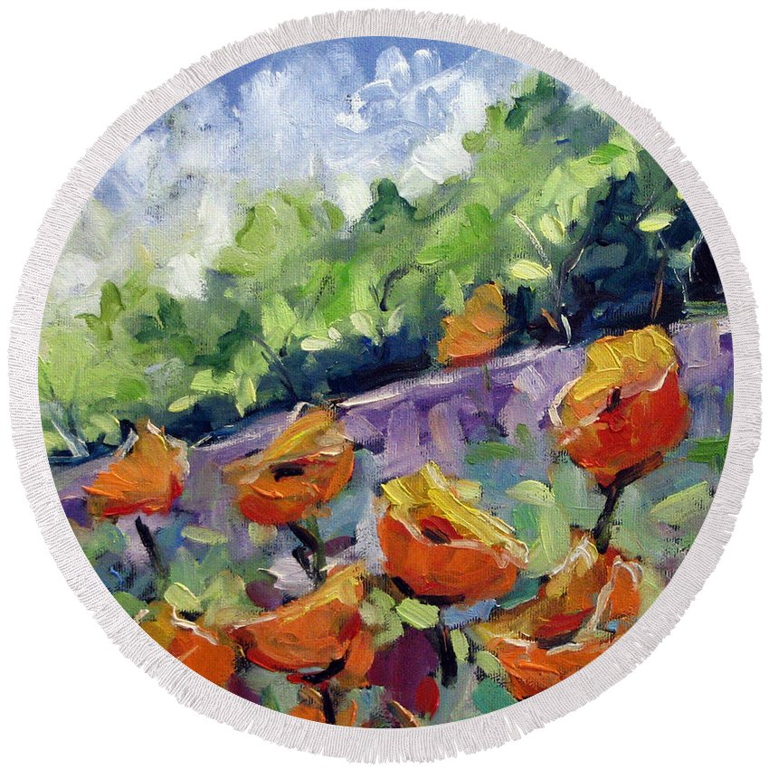 Art Round Beach Towel featuring the painting Orange Poppies by Richard T Pranke