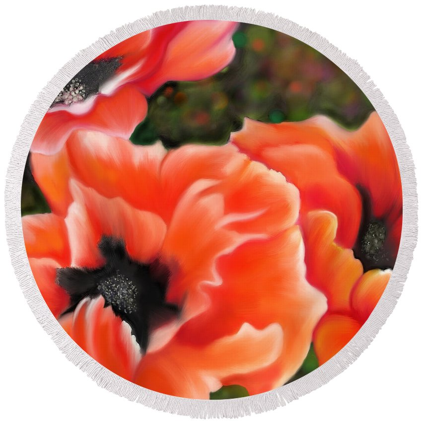 Poppies Round Beach Towel featuring the painting Orange Poppies by Sand And Chi