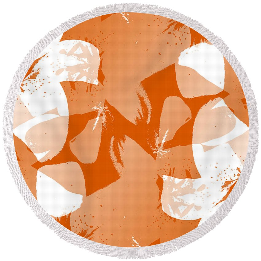 Botanical Round Beach Towel featuring the digital art Orange Poster Lilies by Ruth Palmer