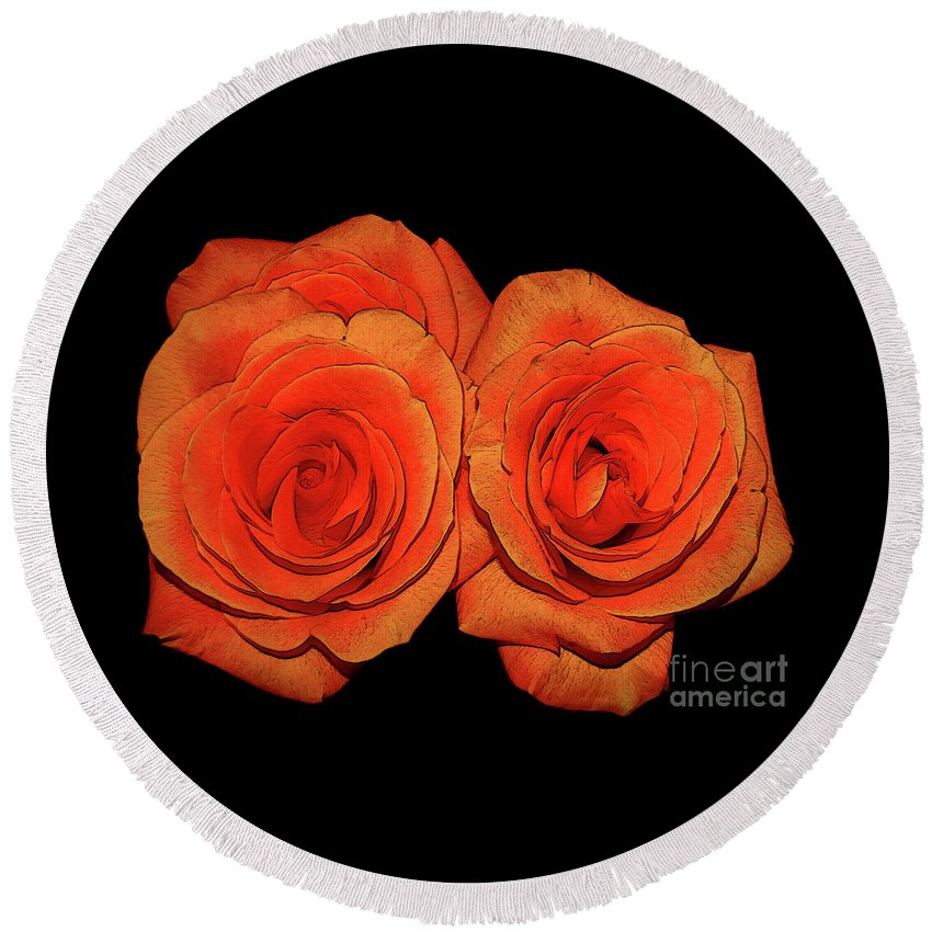 Roses Round Beach Towel featuring the photograph Orange Roses With Hot Wax Effects by Rose Santuci-Sofranko