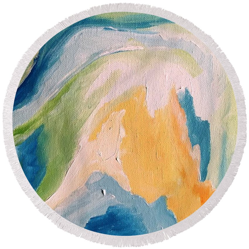 Abstract Round Beach Towel featuring the painting Orange Slush by Tay Morgan