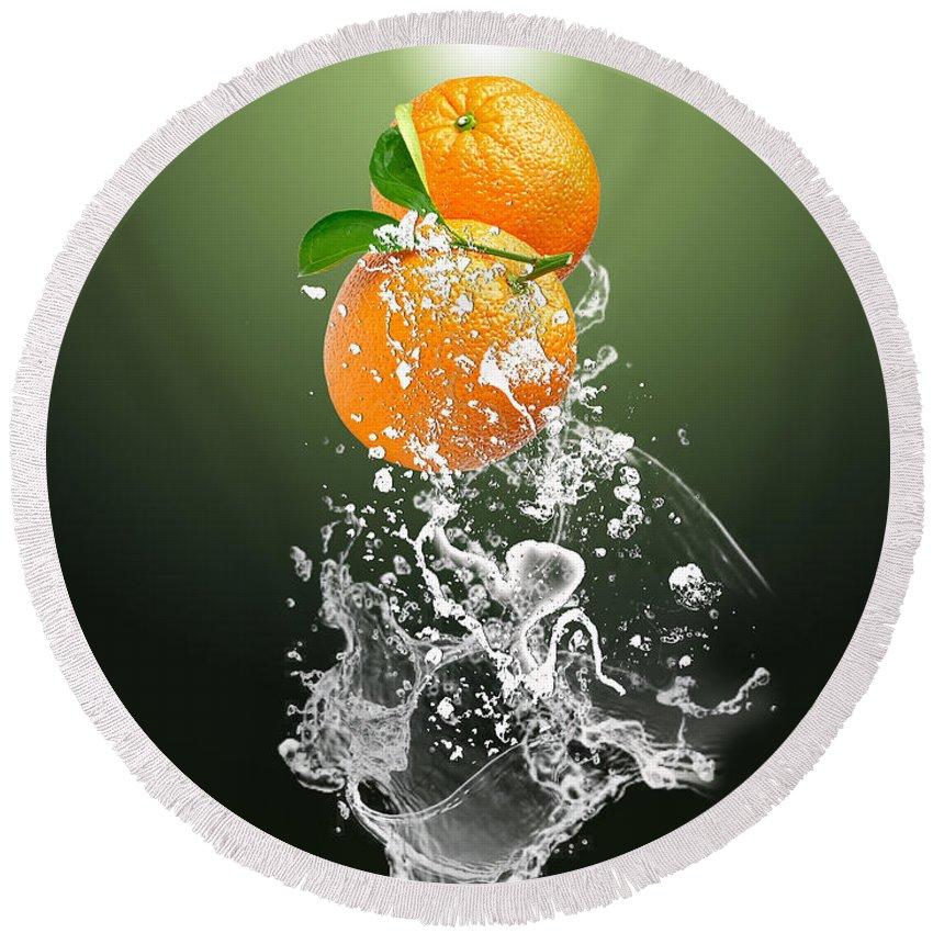 Orange Round Beach Towel featuring the mixed media Orange Splash by Marvin Blaine