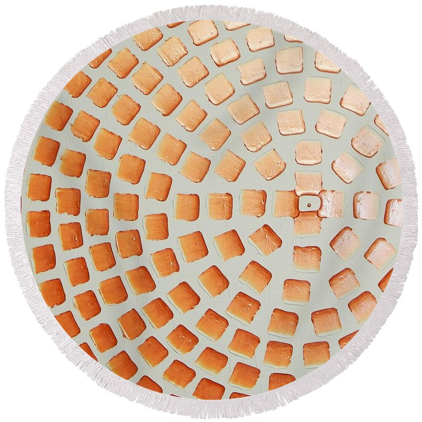 Painting Round Beach Towel featuring the painting Orange Squares by Ilonka Walter