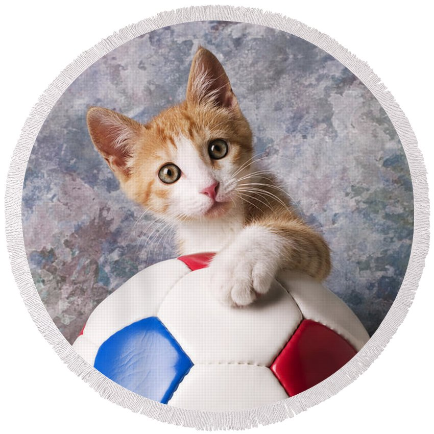 Kitten Round Beach Towel featuring the photograph Orange Tabby Kitten With Soccer Ball by Garry Gay