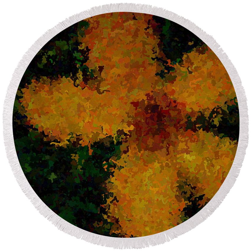 Flower Round Beach Towel featuring the painting Orange-yellow Flower by April Patterson