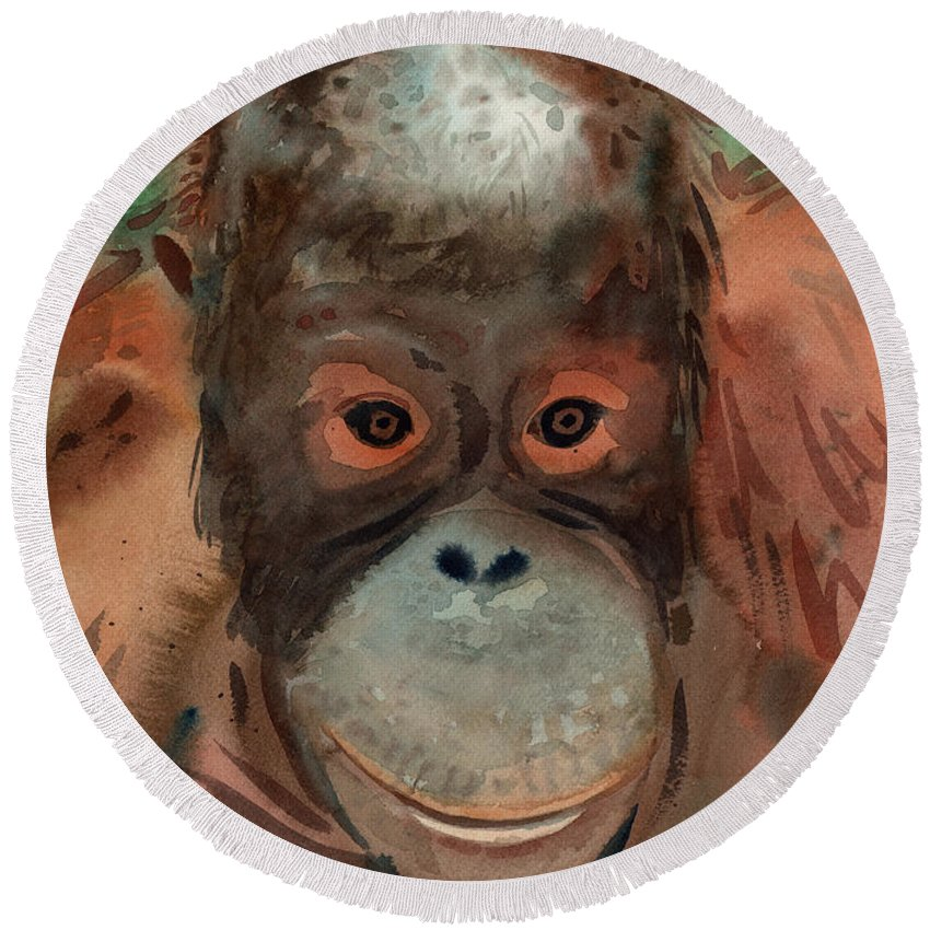 Orangutans Round Beach Towel featuring the painting Orangutan by Donald Maier