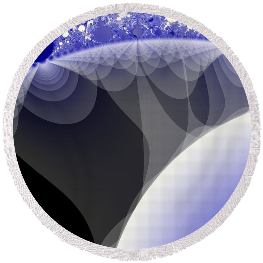 Fractal Image Round Beach Towel featuring the digital art Orbs And Atmospheres by Ron Bissett