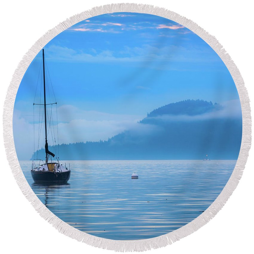 America Round Beach Towel featuring the photograph Orcas Sailboat by Inge Johnsson