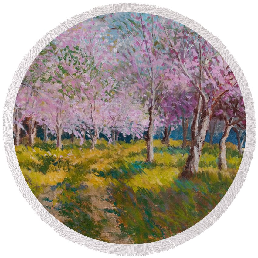 Impressionism Round Beach Towel featuring the painting Orchard Light by Keith Burgess