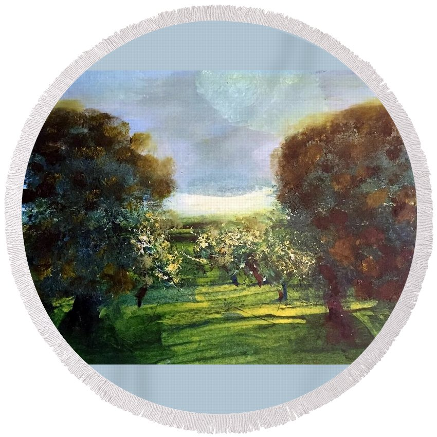 Round Beach Towel featuring the painting Orchard by Martha Dolan