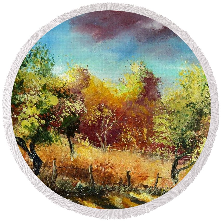 Flowers Round Beach Towel featuring the painting Orchard by Pol Ledent