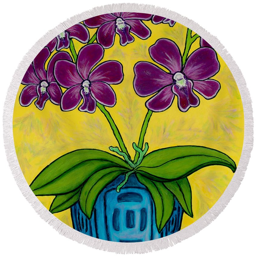 Orchids Round Beach Towel featuring the painting Orchid Delight by Lisa Lorenz
