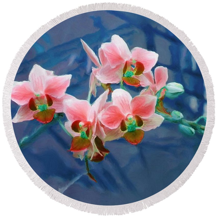 Flowers Round Beach Towel featuring the painting Orchid Flowers 8 by Susanna Katherine