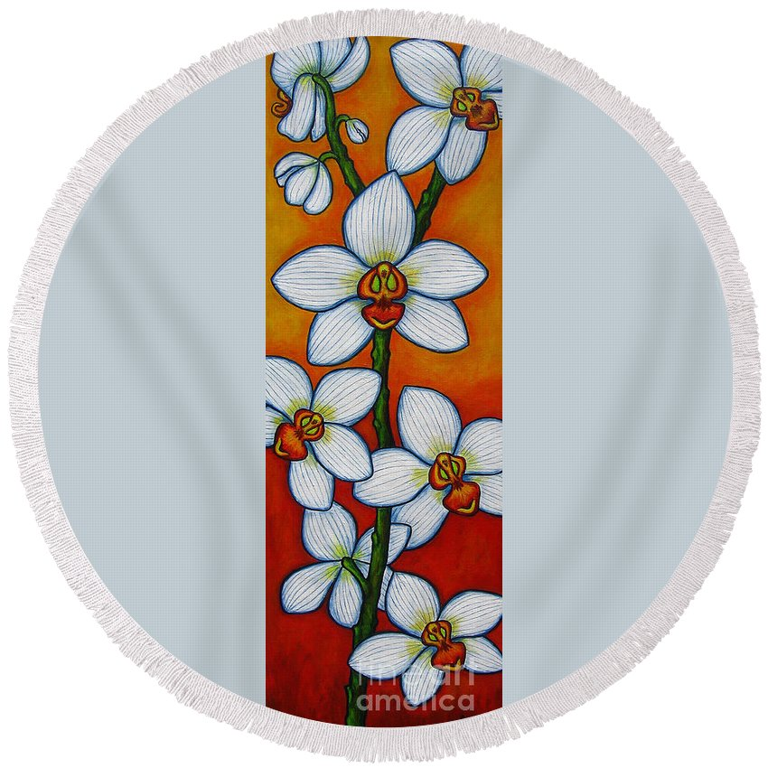 Orchids Round Beach Towel featuring the painting Orchid Oasis by Lisa Lorenz