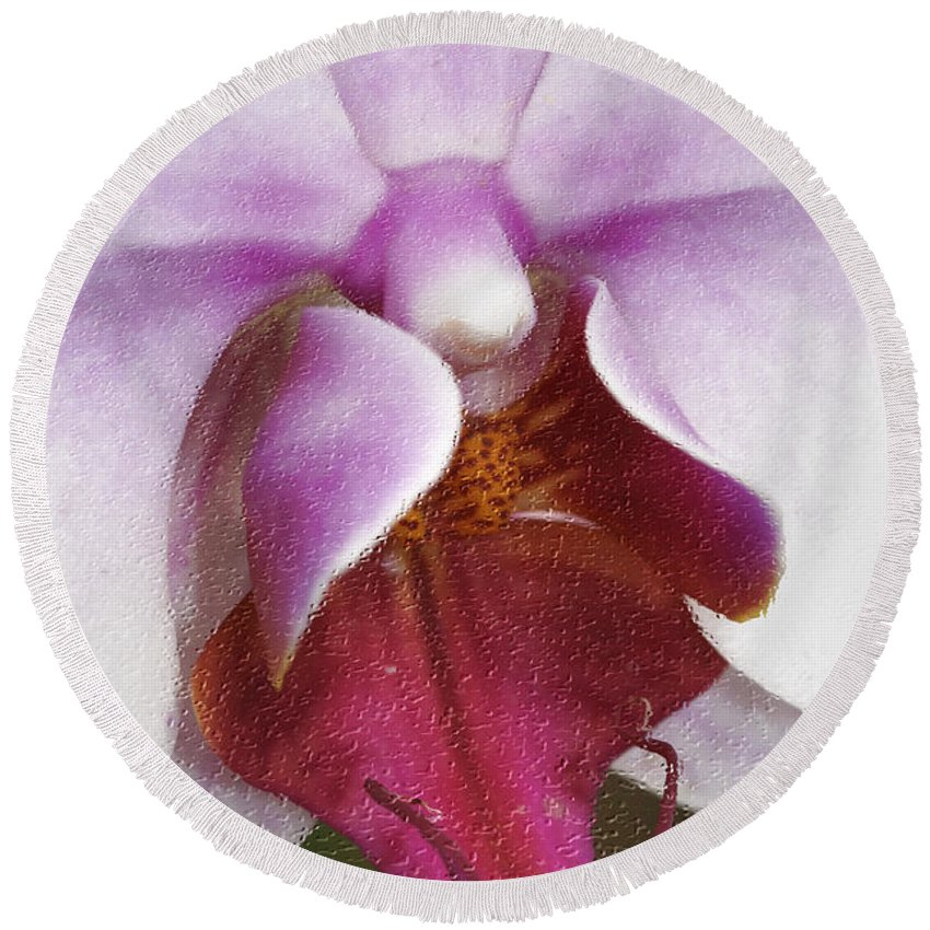 Orchid Round Beach Towel featuring the photograph Orchid Portrait In Craquelure by Deborah Benoit