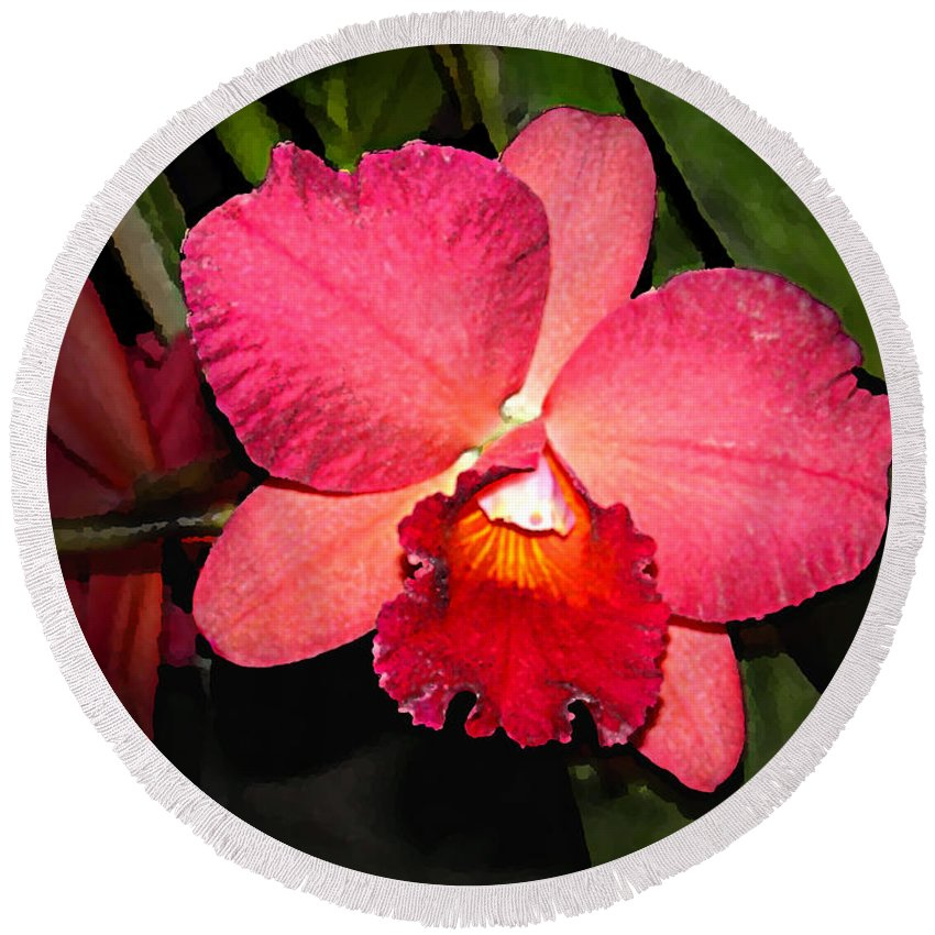 Digital Painting And Photography Round Beach Towel featuring the photograph Orchid by Steve Karol