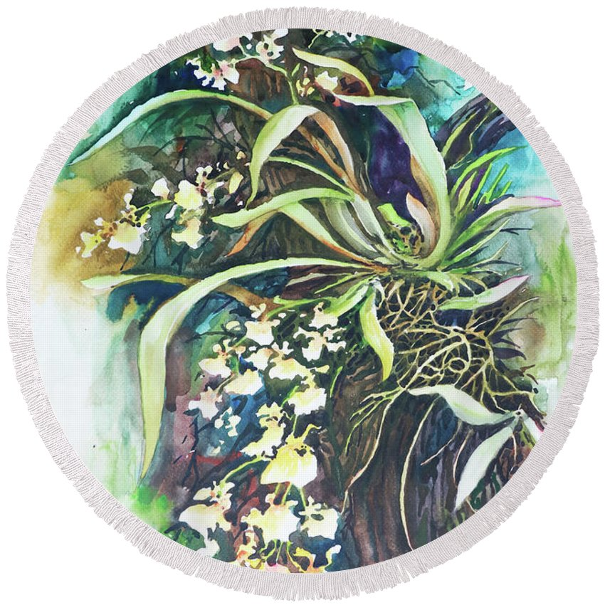 Landscape Round Beach Towel featuring the painting Orchid by Win Min Mg