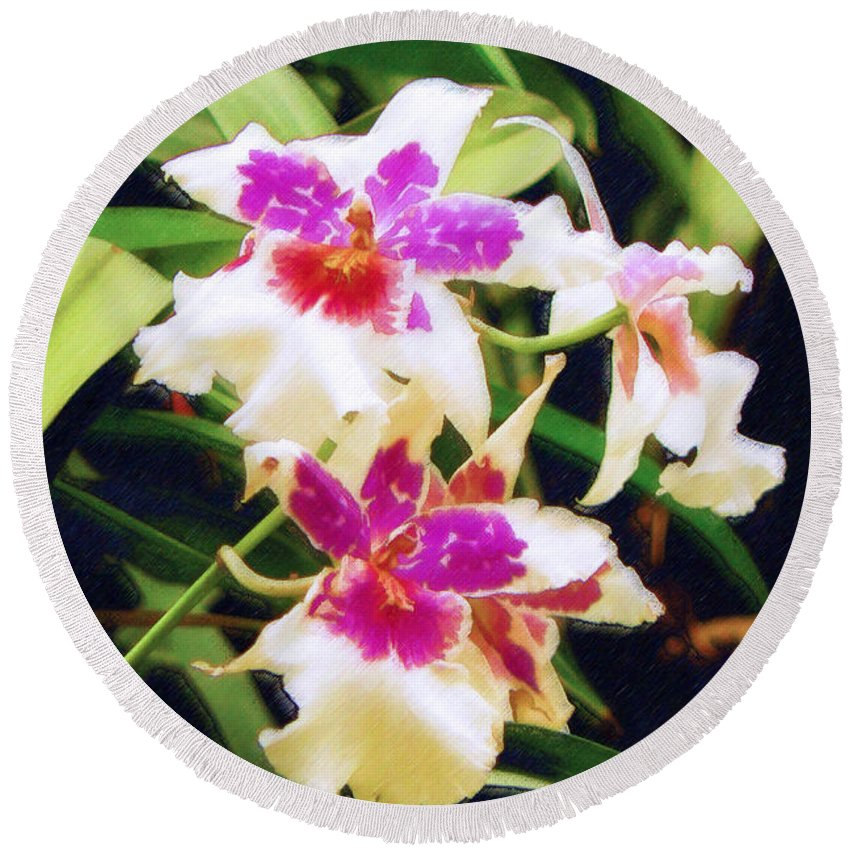 Orchids Round Beach Towel featuring the painting Orchids 1 by Sandy MacGowan