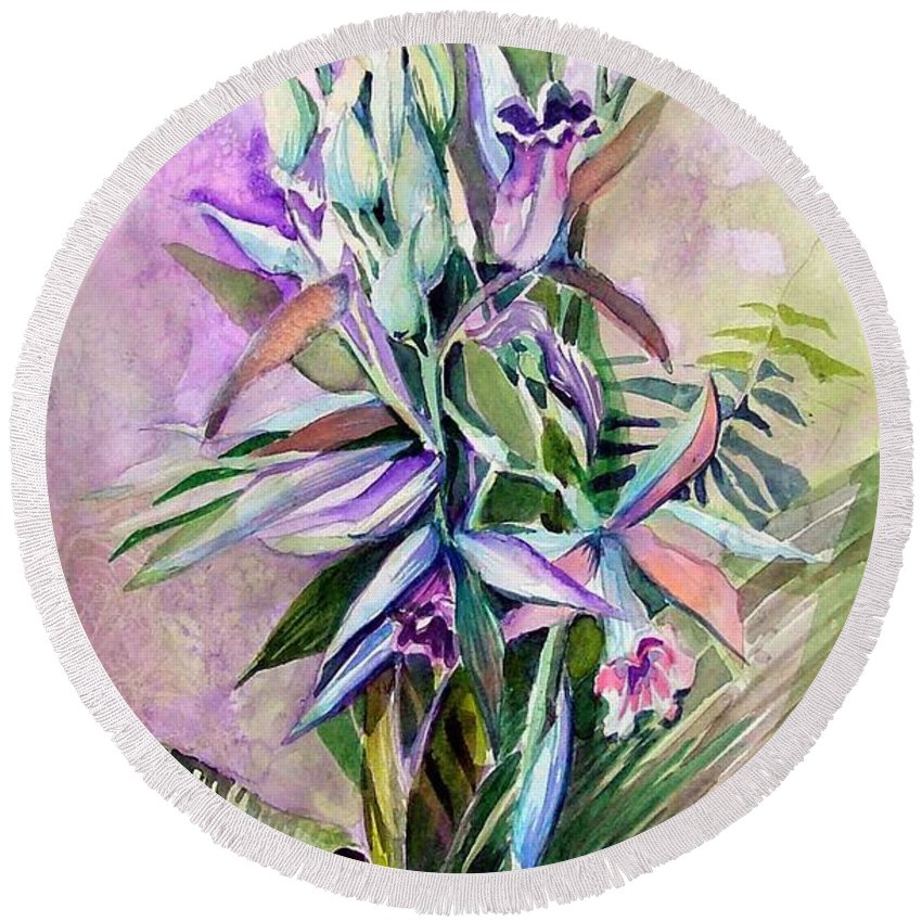 Orchids Round Beach Towel featuring the painting Orchids- Botanicals by Mindy Newman