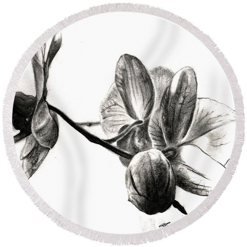 Lin Petershagen Round Beach Towel featuring the drawing Orchids In Black by Lin Petershagen