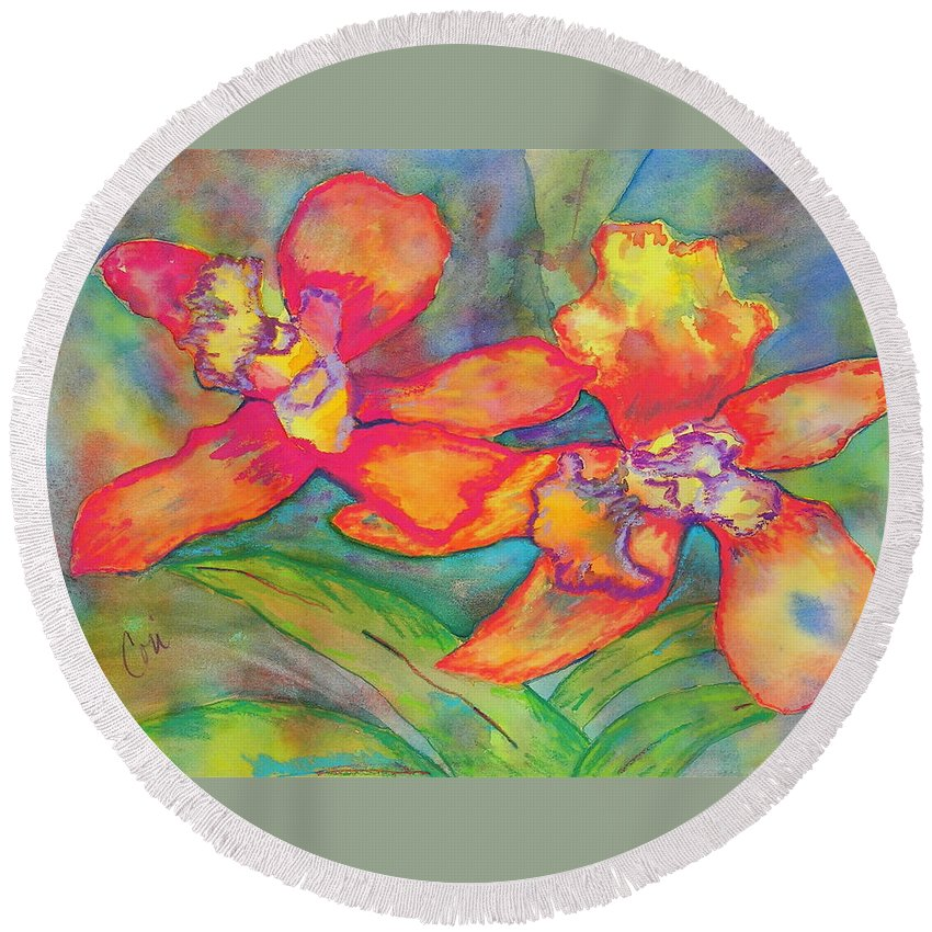 Flowers Round Beach Towel featuring the painting Orchids In Paradise by Cori Solomon