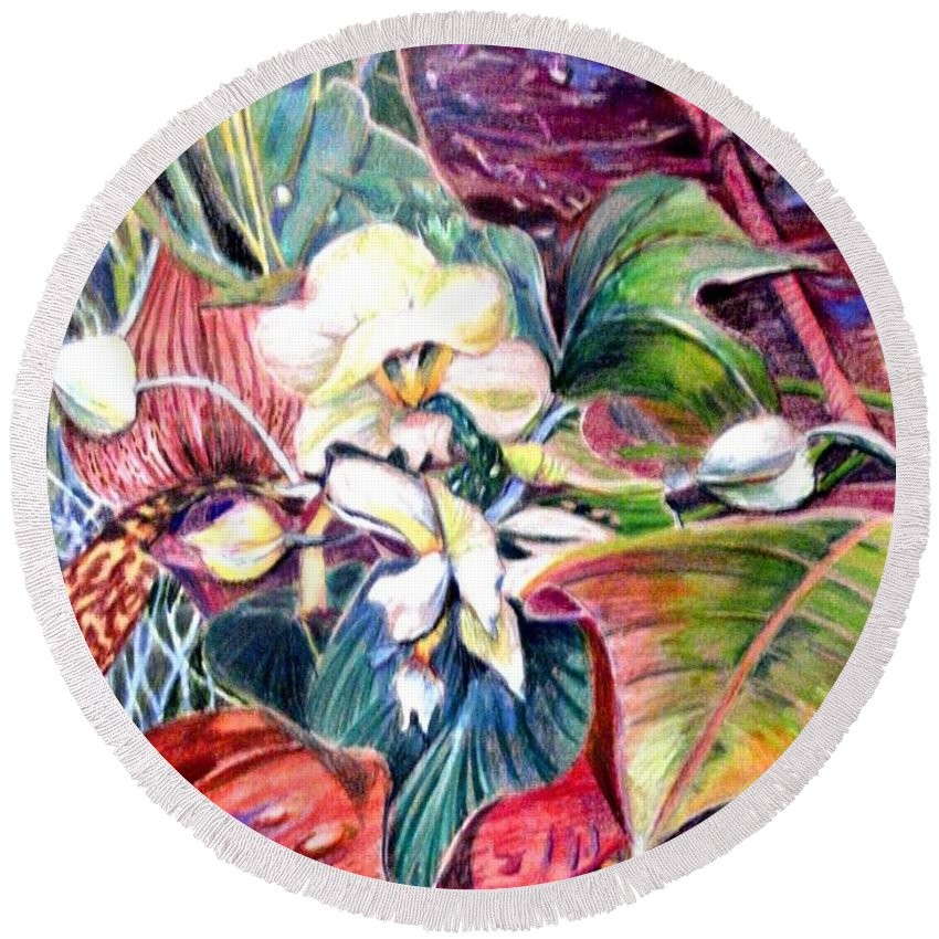 Valentines Round Beach Towel featuring the drawing Orchids In White by Mindy Newman