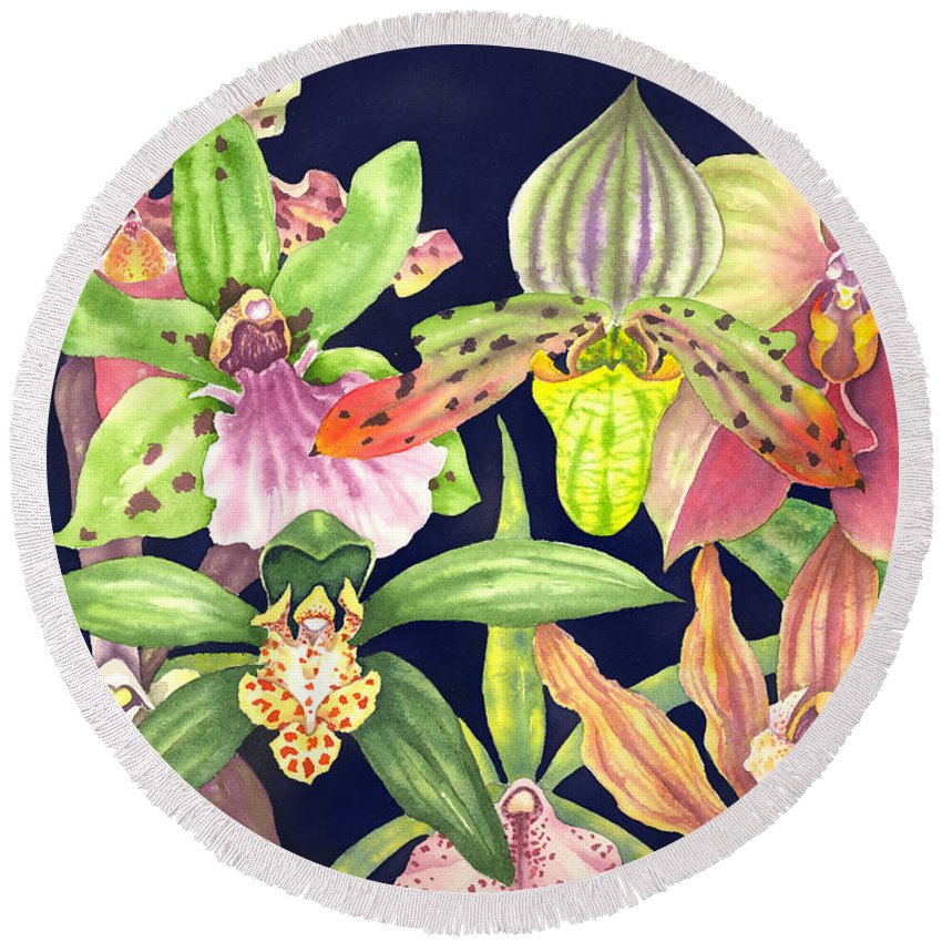 Orchids Round Beach Towel featuring the painting Orchids by Lucy Arnold