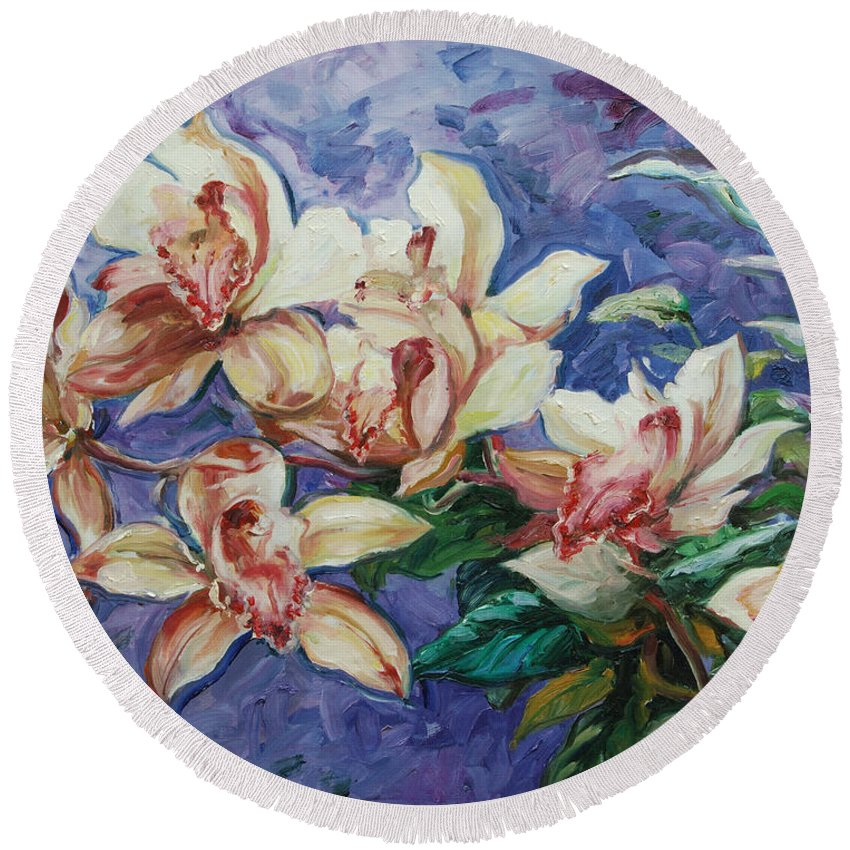 Flowers Round Beach Towel featuring the painting Orchids by Rick Nederlof