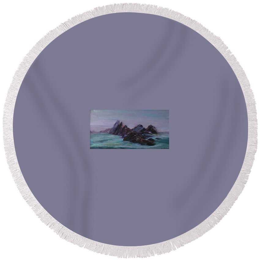 Impressionism Round Beach Towel featuring the painting Oregon Coast Seal Rock Mist by Quin Sweetman