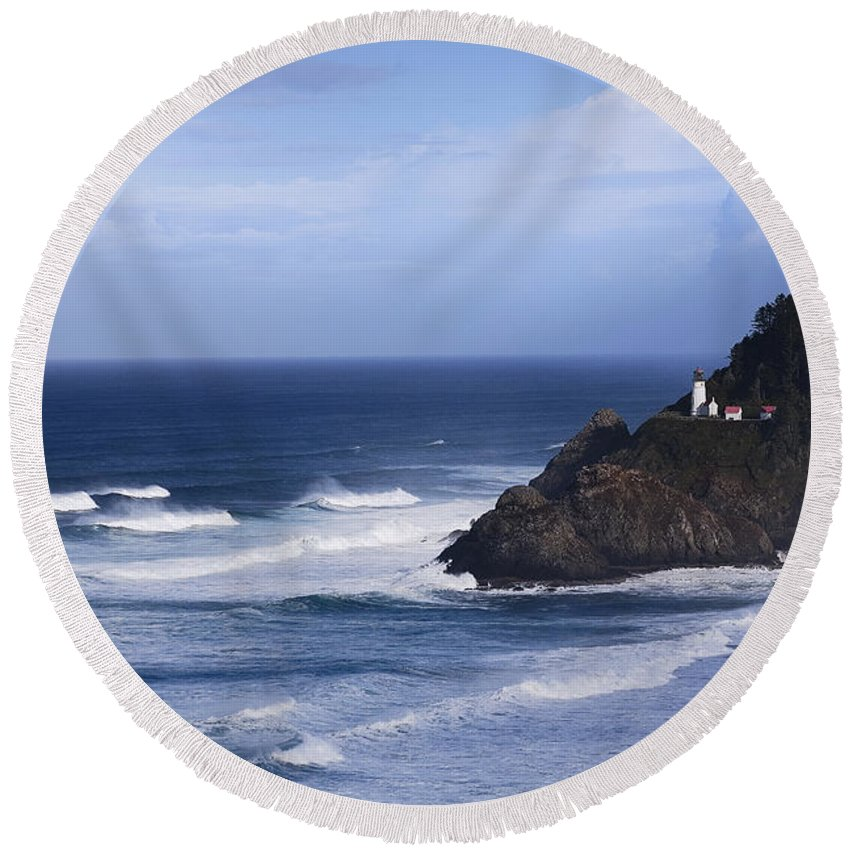 Nature Round Beach Towel featuring the photograph Oregon Lighthouse by John K Sampson