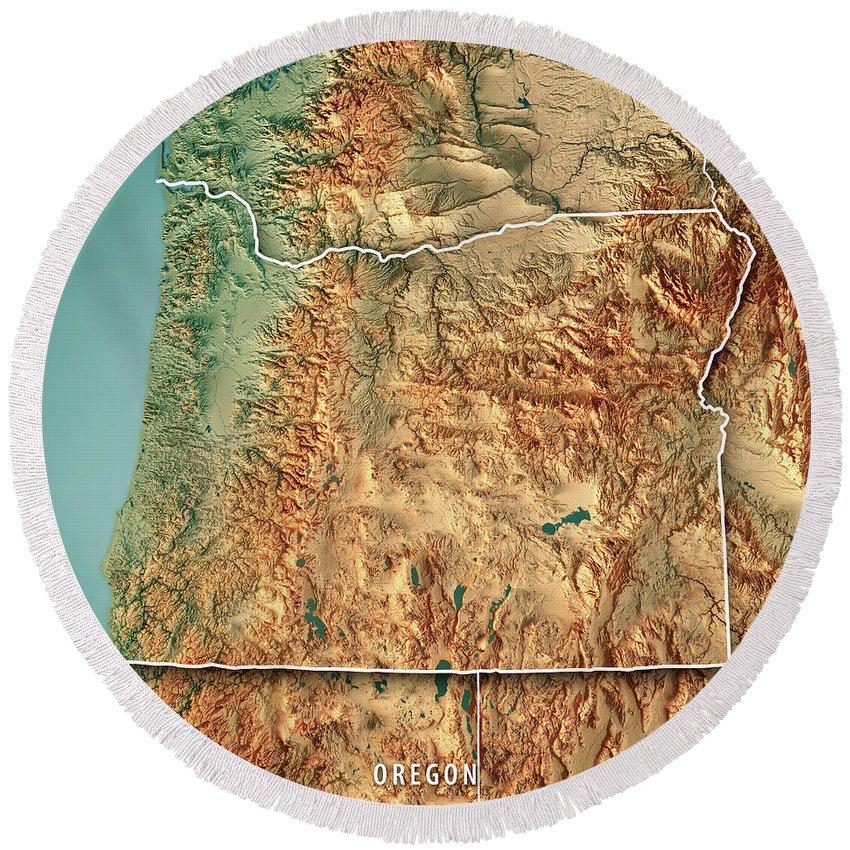 Plush Oregon Map.Oregon State Usa 3d Render Topographic Map Border Round Beach Towel