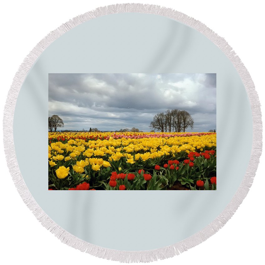 Oregon Round Beach Towel featuring the photograph Oregon Tulip Fields 2 Photograph by Kimberly Walker