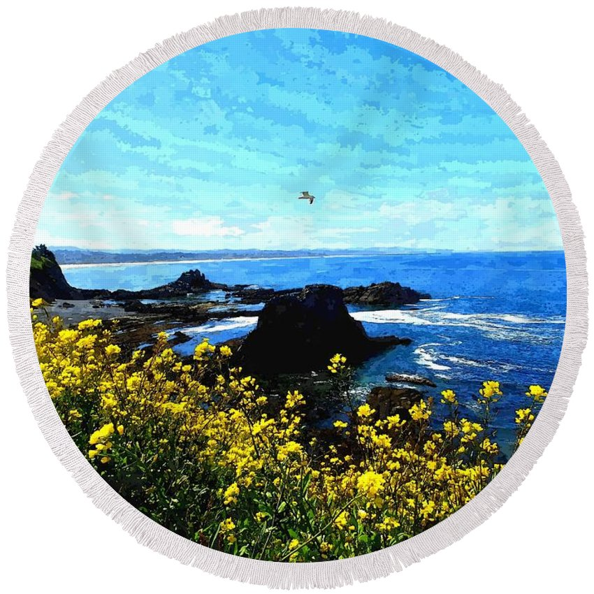 Original Photography Round Beach Towel featuring the photograph Oregon Wild Flowers Water Color by Richard Copeland