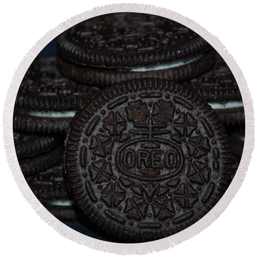 Oreo Round Beach Towel featuring the photograph Oreo Cookies by Rob Hans